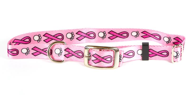 Premium TuffLock Pink Ribbons - Metal Buckle Dog Collar